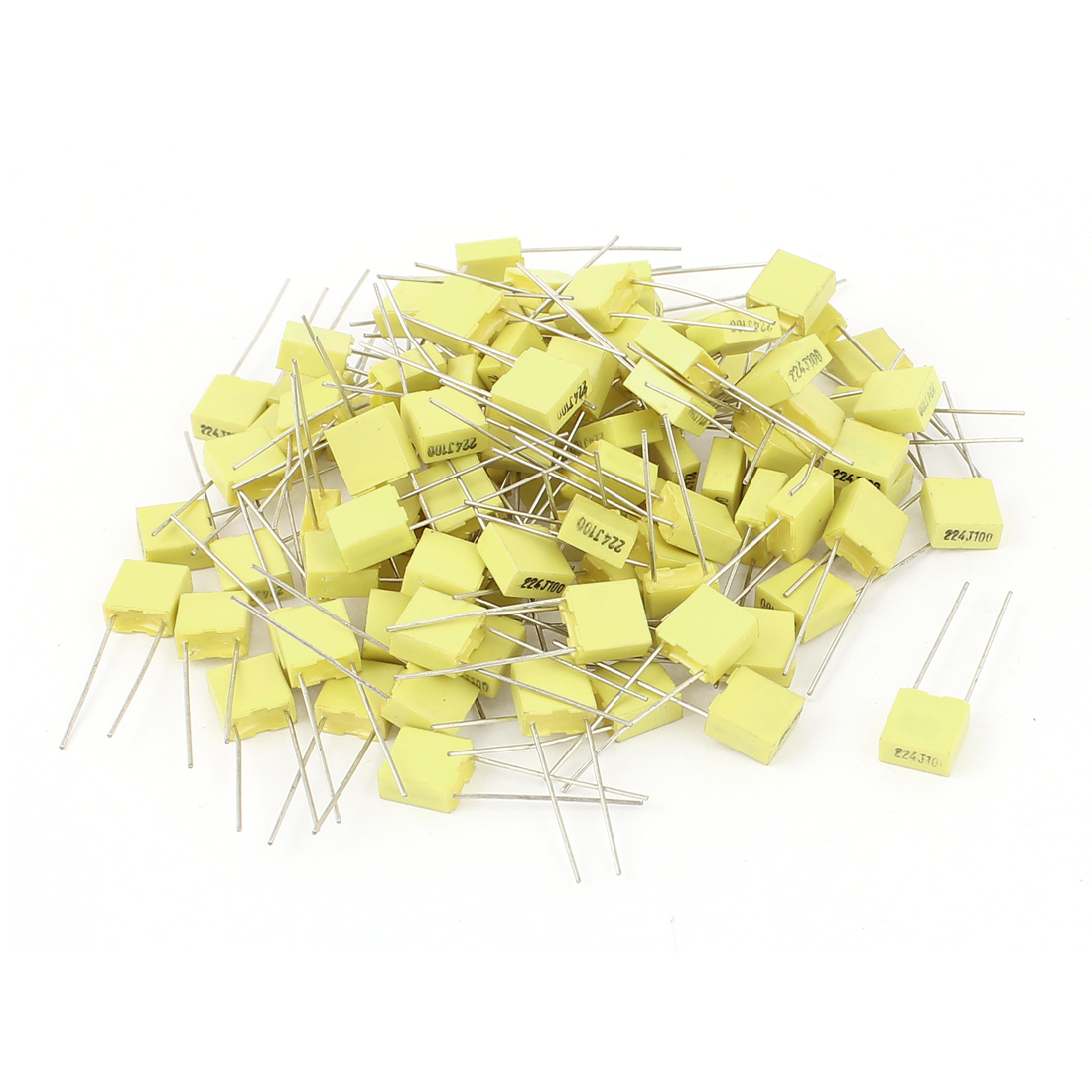 50 Pcs 100V 0.22uF 220NF Radial Lead Box Type Film Correction Capacitors