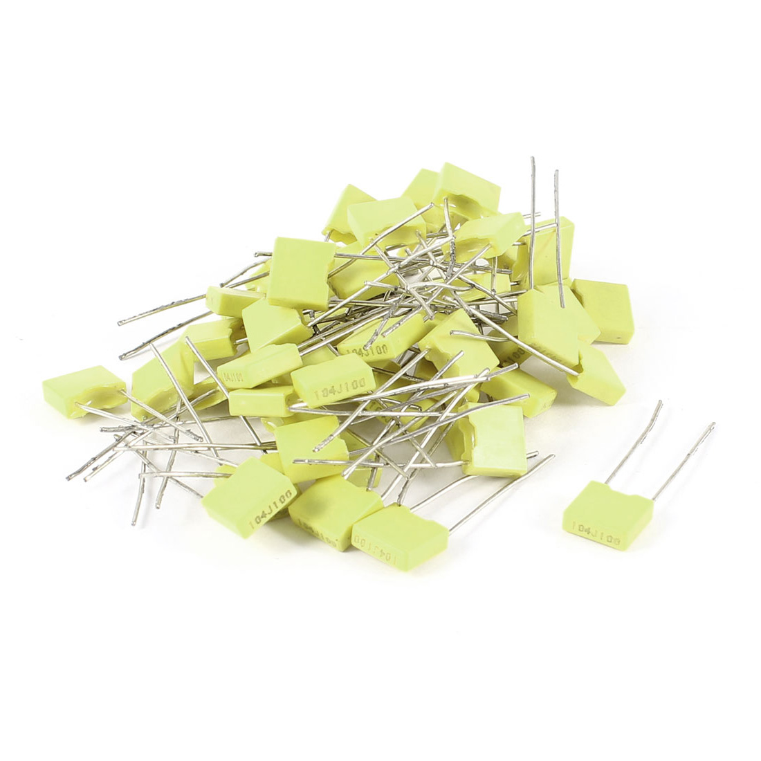 50 Pieces 100V 0.1uF 100NF 10% Radial Lead Box Type Correction Capacitors Yellow