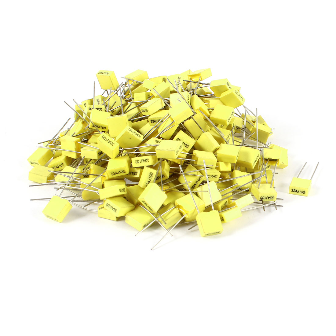 200 Pcs 100V 0.33uF 330NF Radial Lead Box Type Film Correction Capacitors Yellow