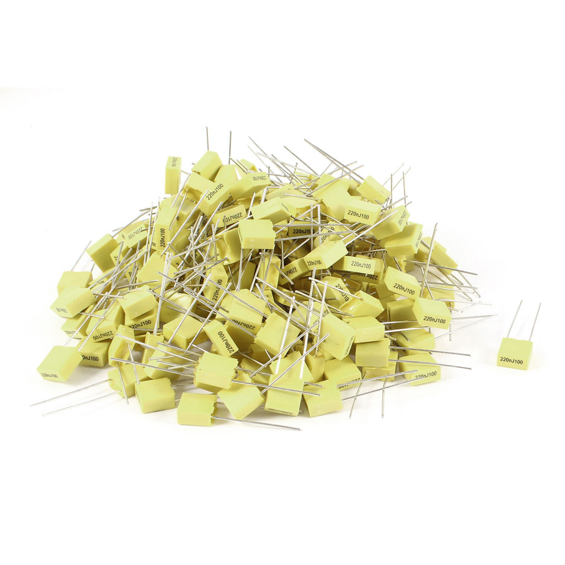 200 Pcs 100V 0.22uF 220NF Radial Lead Box Type Film Correction Capacitors