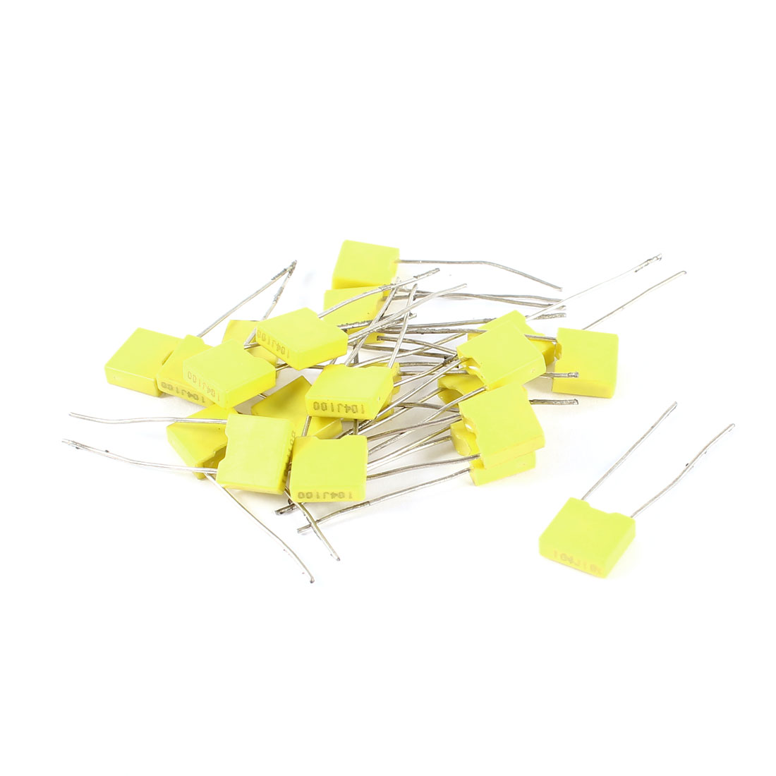 20 Pieces 100V 0.1uF 100NF 10% Radial Lead Box Type Correction Capacitors Yellow