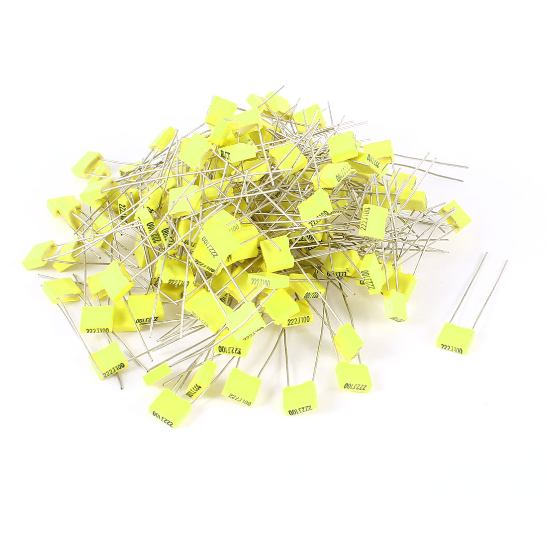150 Pieces 100V 2.2NF Metal Radial Lead Box Type Film Correction Capacitor Yellow