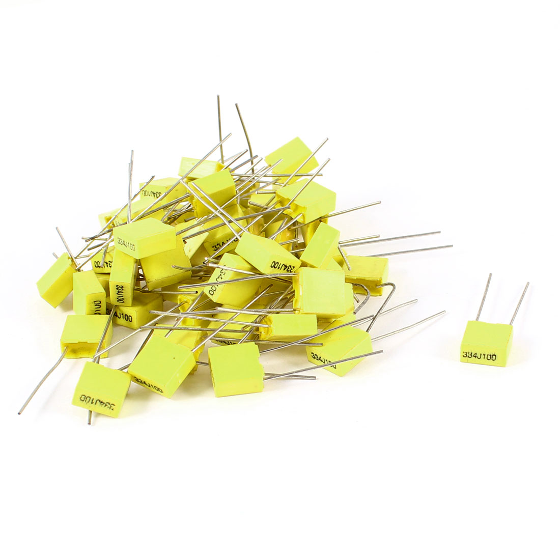 50 Pcs 100V 0.33uF 330NF Radial Lead Box Type Film Correction Capacitors Yellow