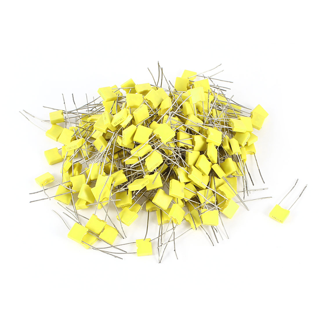 200 Pcs 100V 0.1uF 100NF Radial Lead Box Type Film Correction Capacitors Yellow