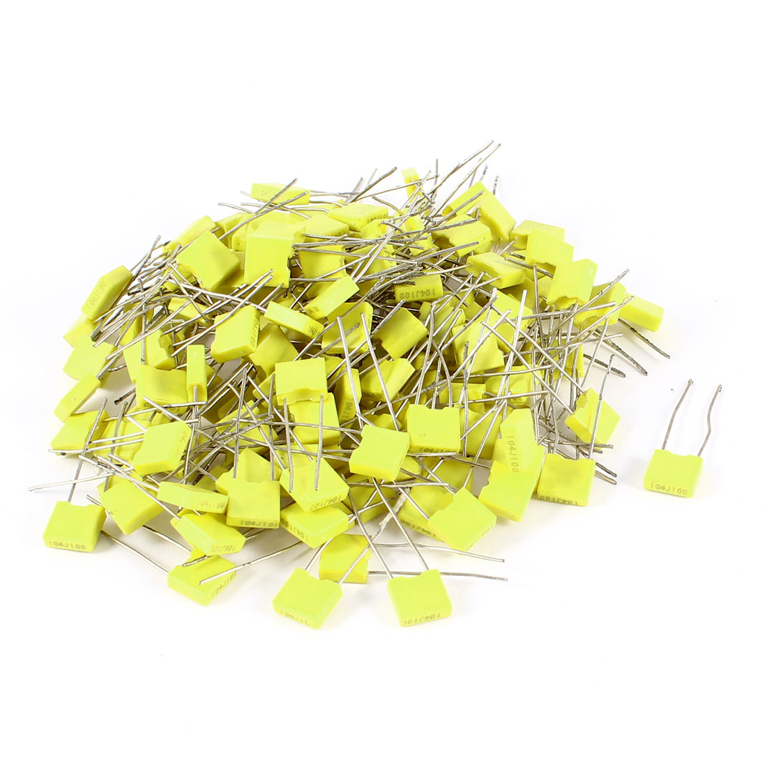 150 Pcs 100V 0.1uF 100NF Radial Lead Box Type Film Correction Capacitors Yellow