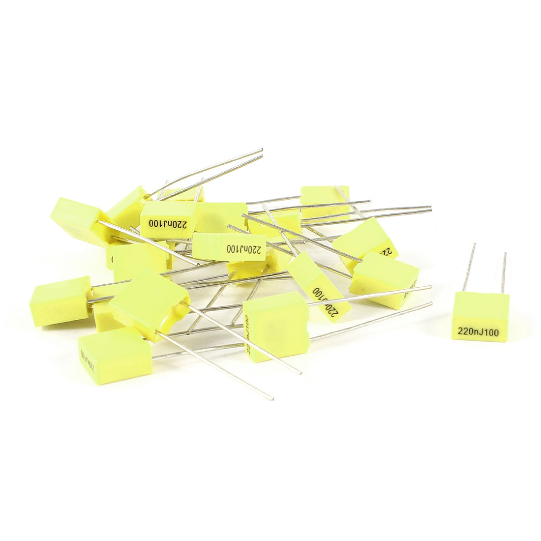 20 Pcs 100V 0.22uF 220NF Radial Lead Box Type Film Correction Capacitors