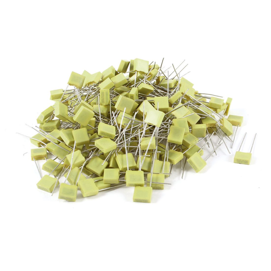 200 Pcs 100V 0.01uF 10NF Radial Lead Box Type Film Correction Capacitors Yellow