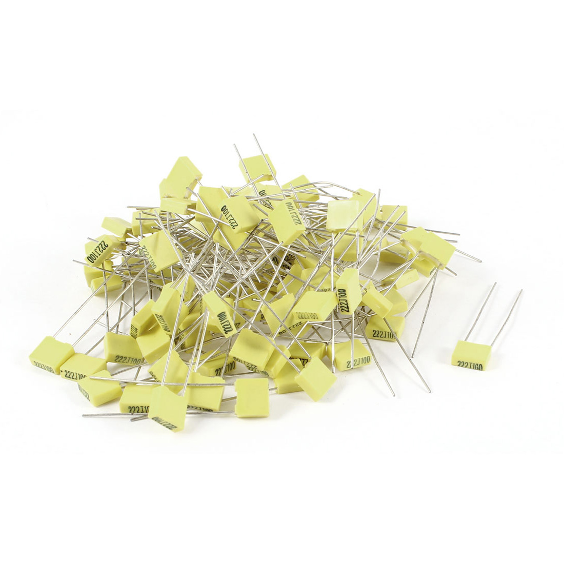 100 Pieces 100V 2.2NF Metal Radial Lead Box Type Film Correction Capacitor Yellow