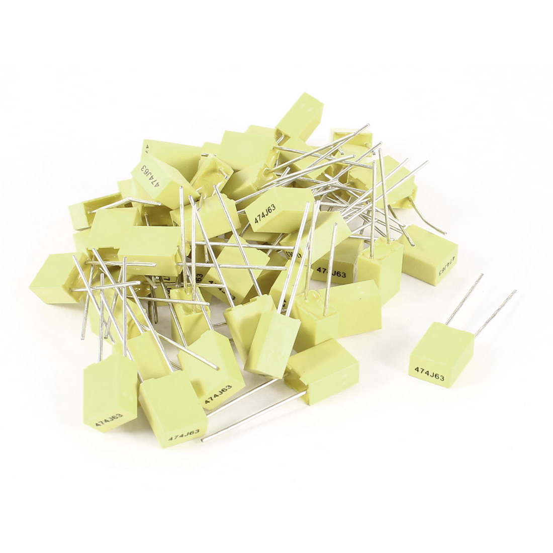50 Pcs 63V 0.47uF 470NF Radial Lead Box Type Film Correction Capacitors Yellow