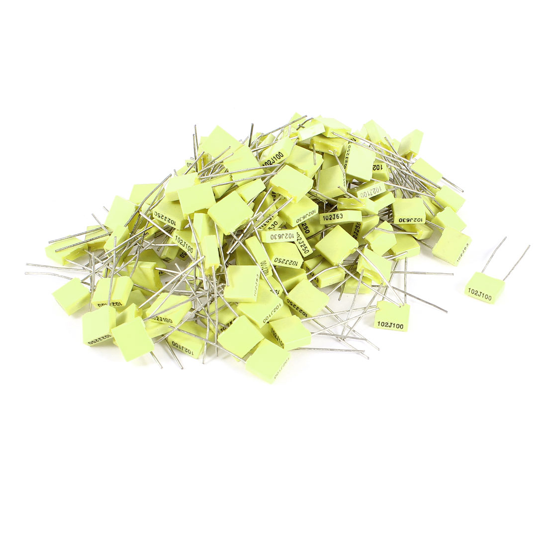 150 Pieces 100V 1NF Metal Radial Lead Box Type Film Correction Capacitors Yellow