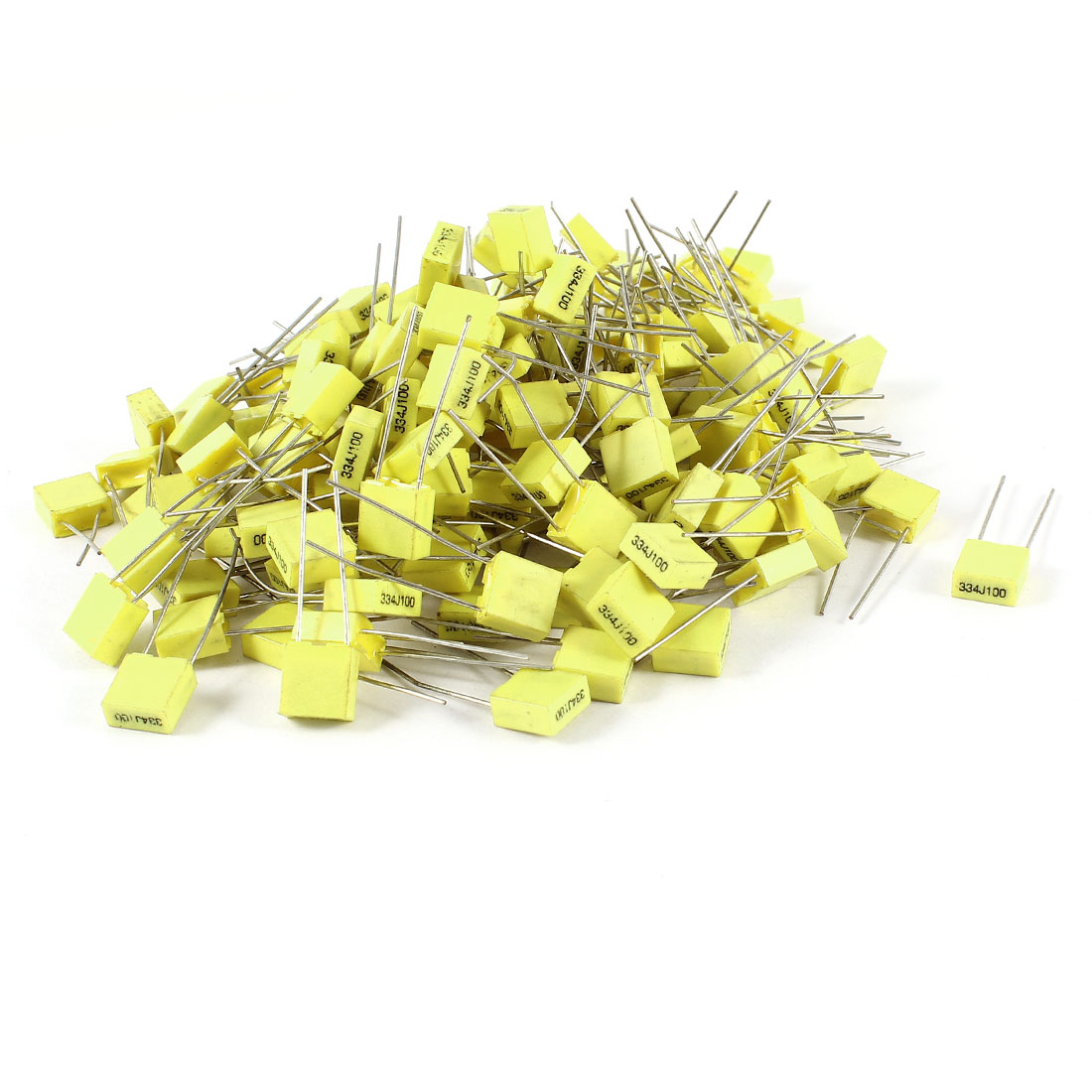 150 Pcs 100V 0.33uF 330NF Radial Lead Box Type Film Correction Capacitors Yellow
