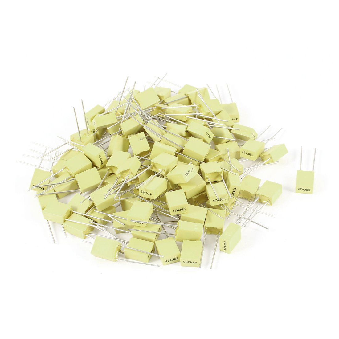 100 Pcs 63V 0.47uF 470NF Radial Lead Box Type Film Correction Capacitors Yellow