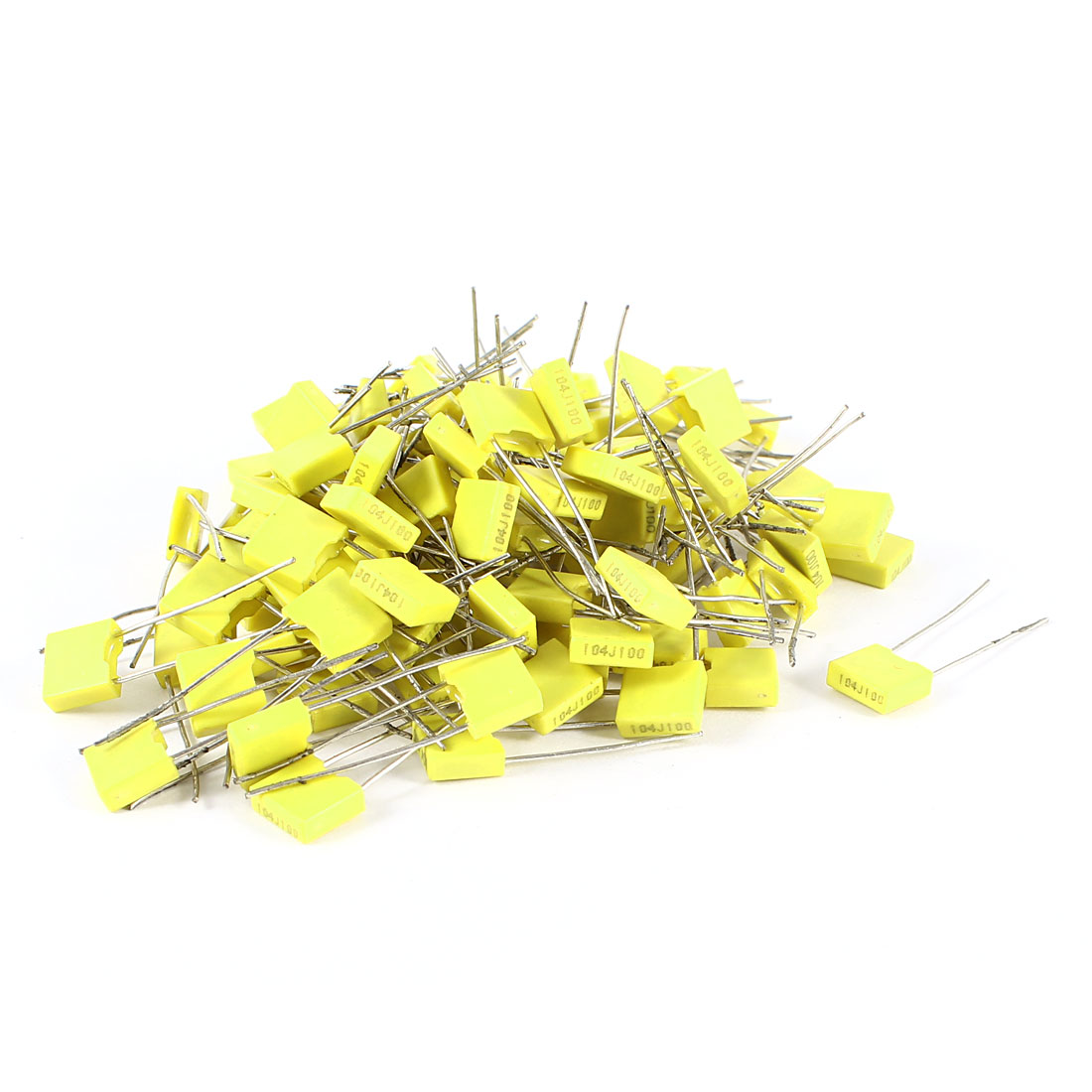 100 Pcs 100V 0.1uF 100NF Radial Lead Box Type Film Correction Capacitors Yellow