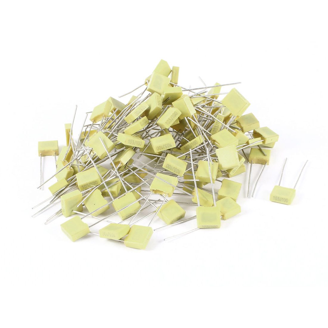 100 Pcs 100V 0.01uF 10NF Radial Lead Box Type Film Correction Capacitors Yellow