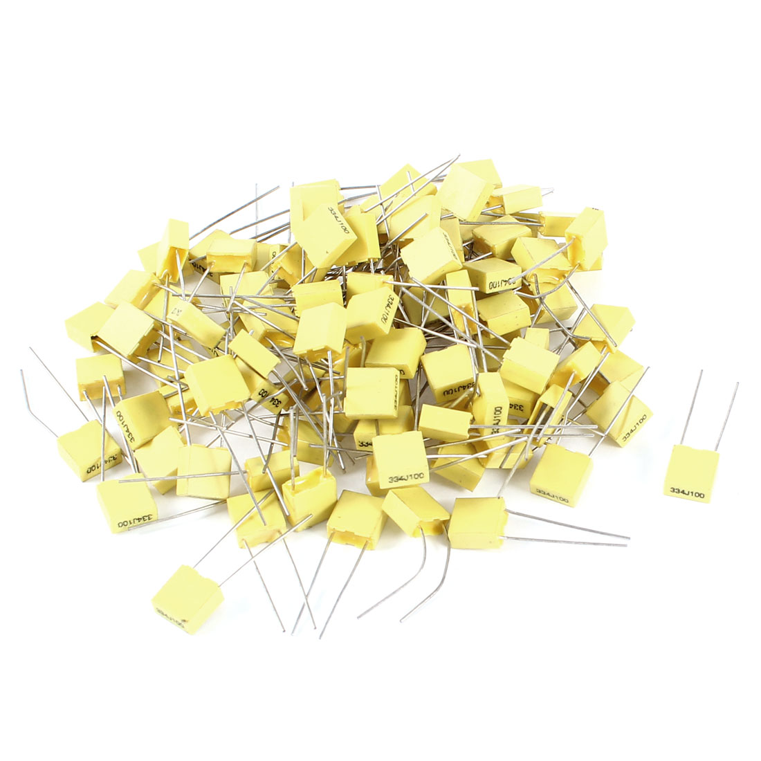 100 Pcs 100V 0.33uF 330NF Radial Lead Box Type Film Correction Capacitors Yellow