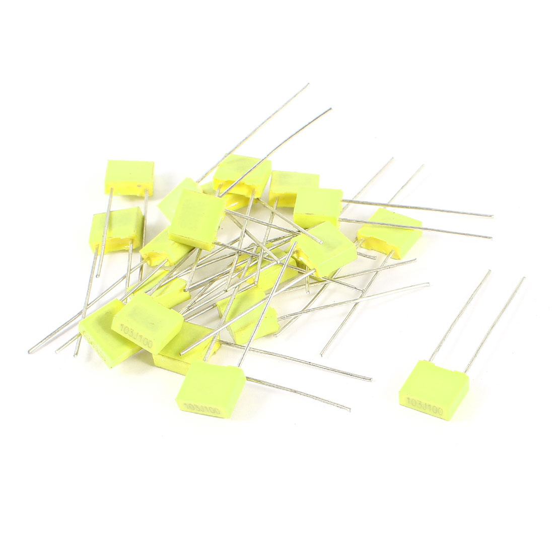 20 Pcs 100V 0.01uF 10NF Radial Lead Box Type Film Correction Capacitors Yellow