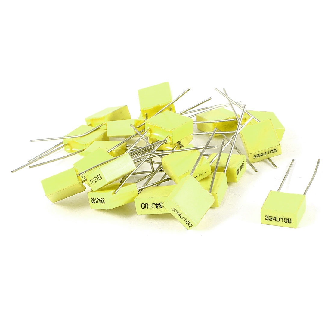 20 Pcs 100V 0.33uF 330NF Radial Lead Box Type Film Correction Capacitors Yellow