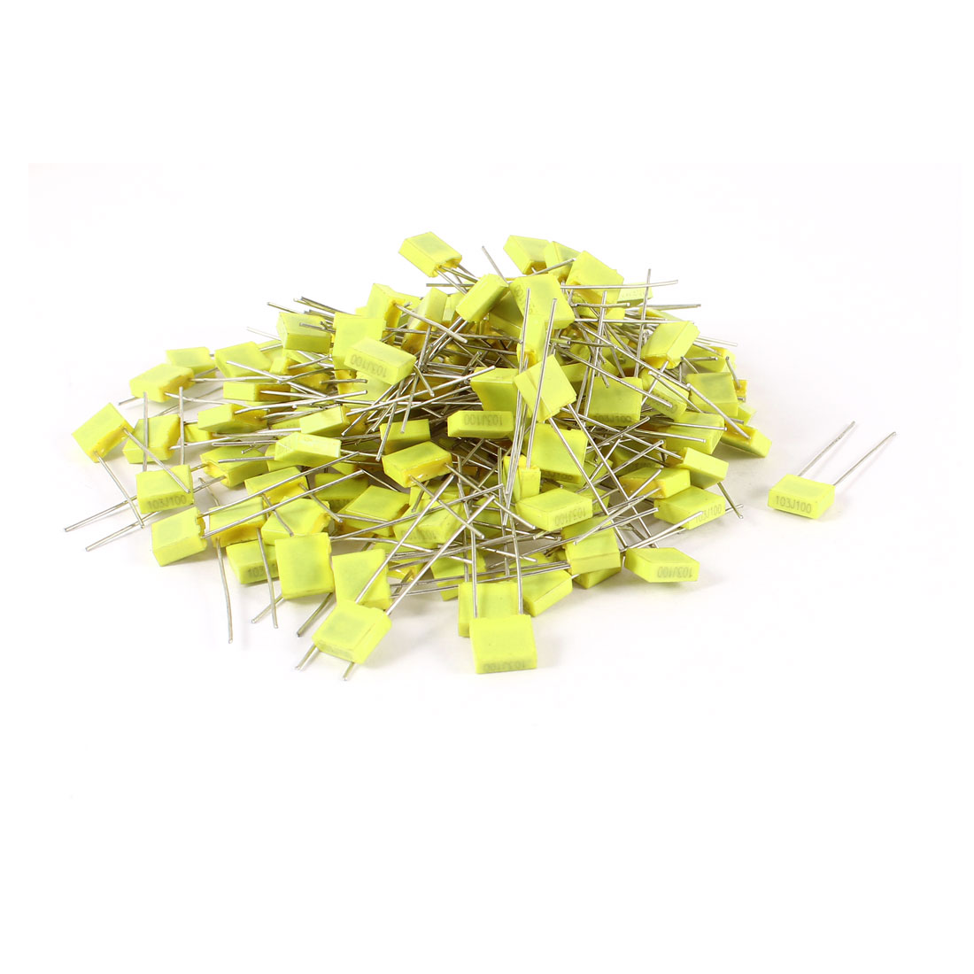 150 Pcs 100V 0.01uF 10NF Radial Lead Box Type Film Correction Capacitors Yellow