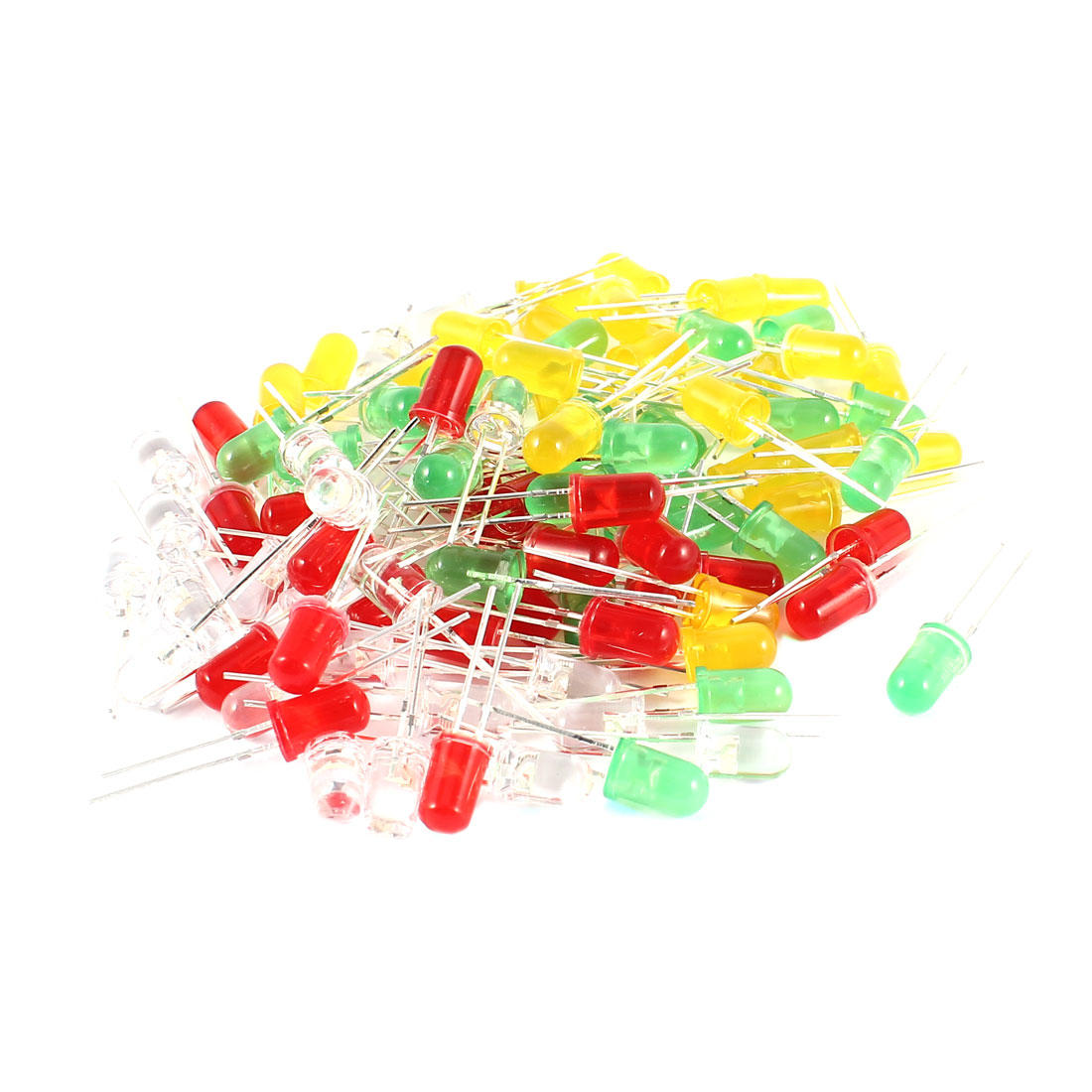 100 Pieces Straw Hat 5mm Red Green Yellow White LED Light Emitting Diode
