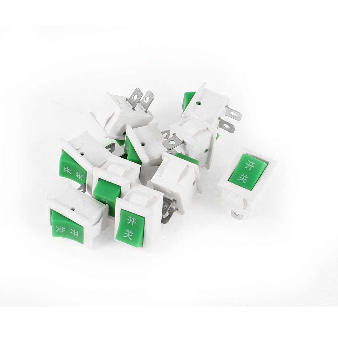 AC 250V 6A 125V 10A 2 Termials SPST ON/OFF 2 Positions Rocker Switch Green White 10Pcs