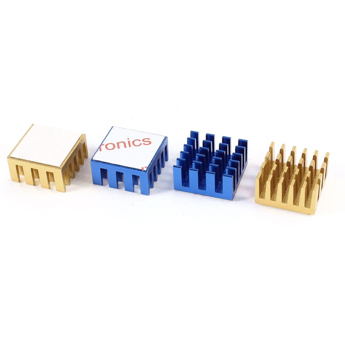 4 Pcs Aluminum Heatsinks Radiator Cooling Fin Cooler 15x15x8mm Blue Copper Tone