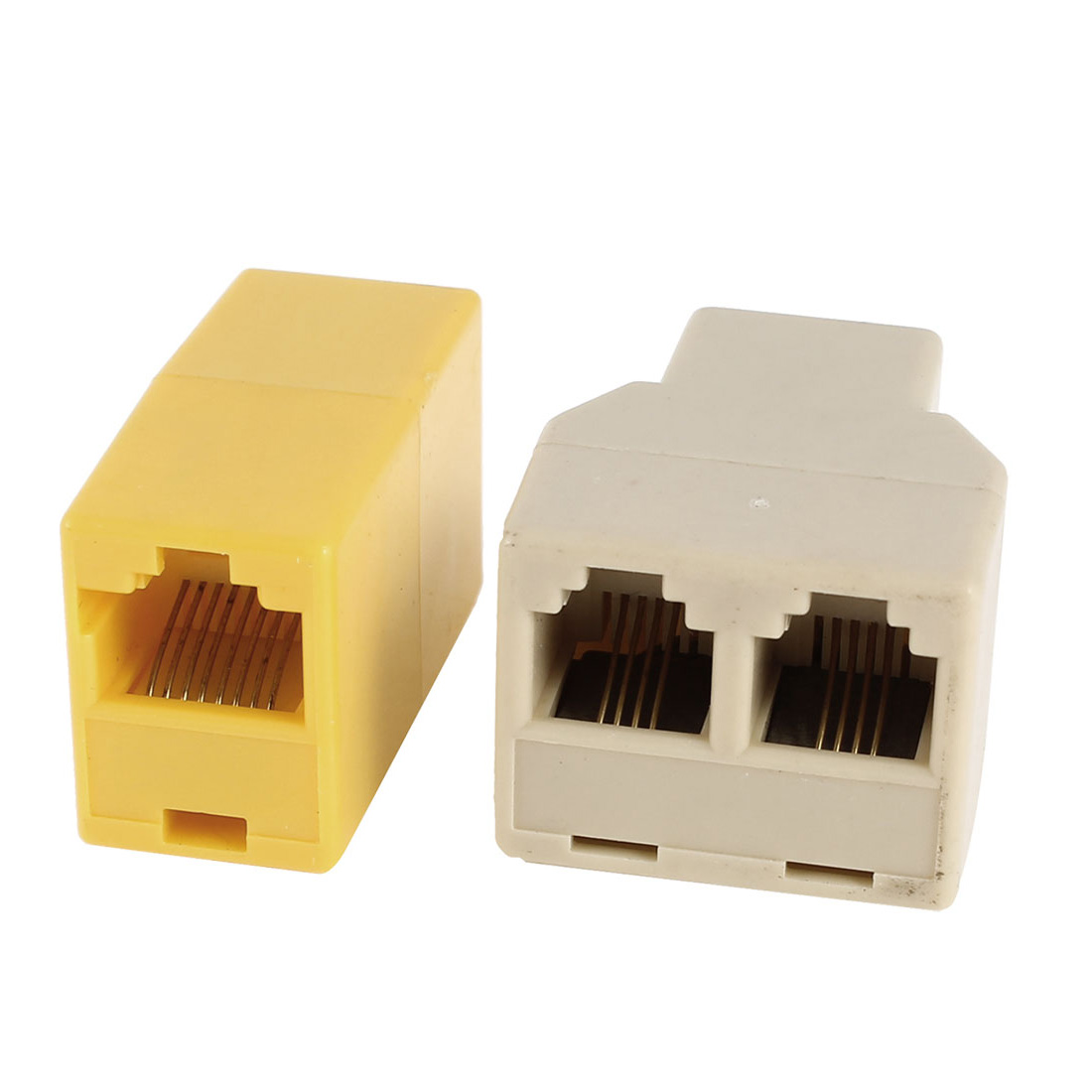 6P4C RJ11 Female to Dual Female Socket + 8P8C RJ45 Female to Female Network Adapter