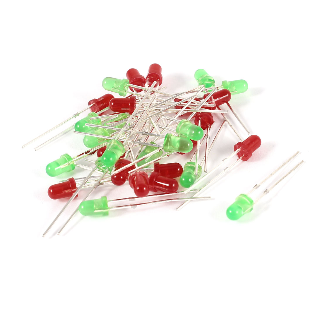 30 Pcs Straw Hat 3mm Red Green LED Light Emitting Diode DC 2.5-3.0V