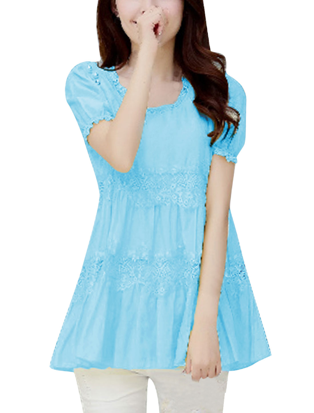 Lady Round Neck Lace Panel Design Lining Tunic Chiffon Blouse Sky Blue M