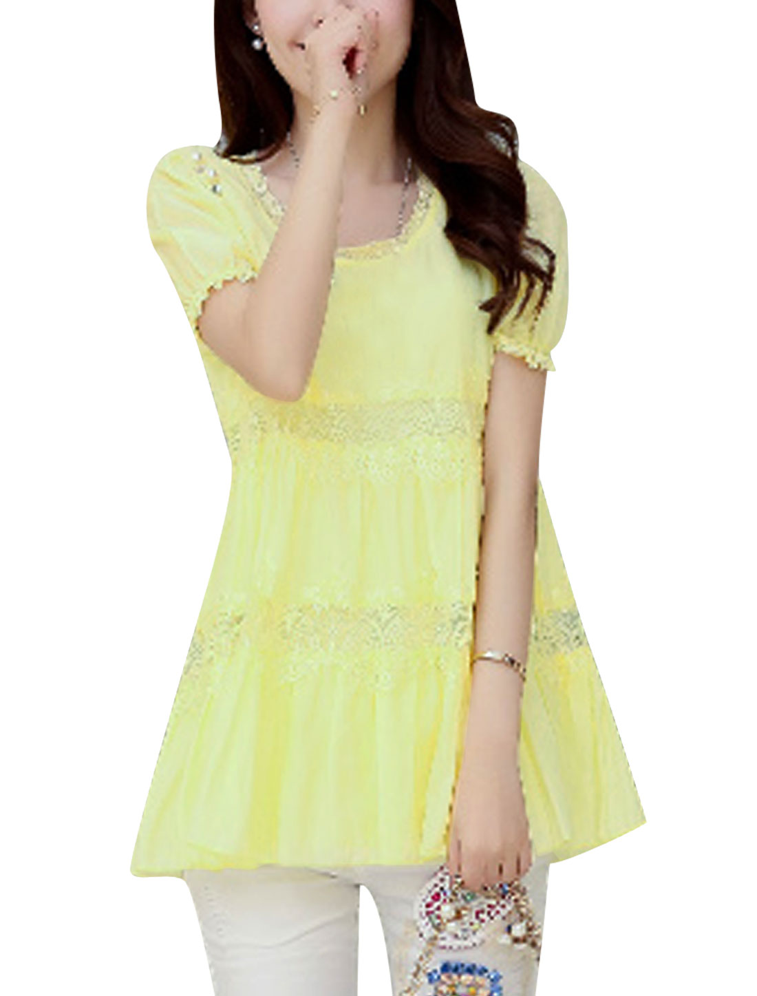 Lady Round Neck Fake Pearl Decor Lining Tunic Chiffon Blouse Light Yellow M
