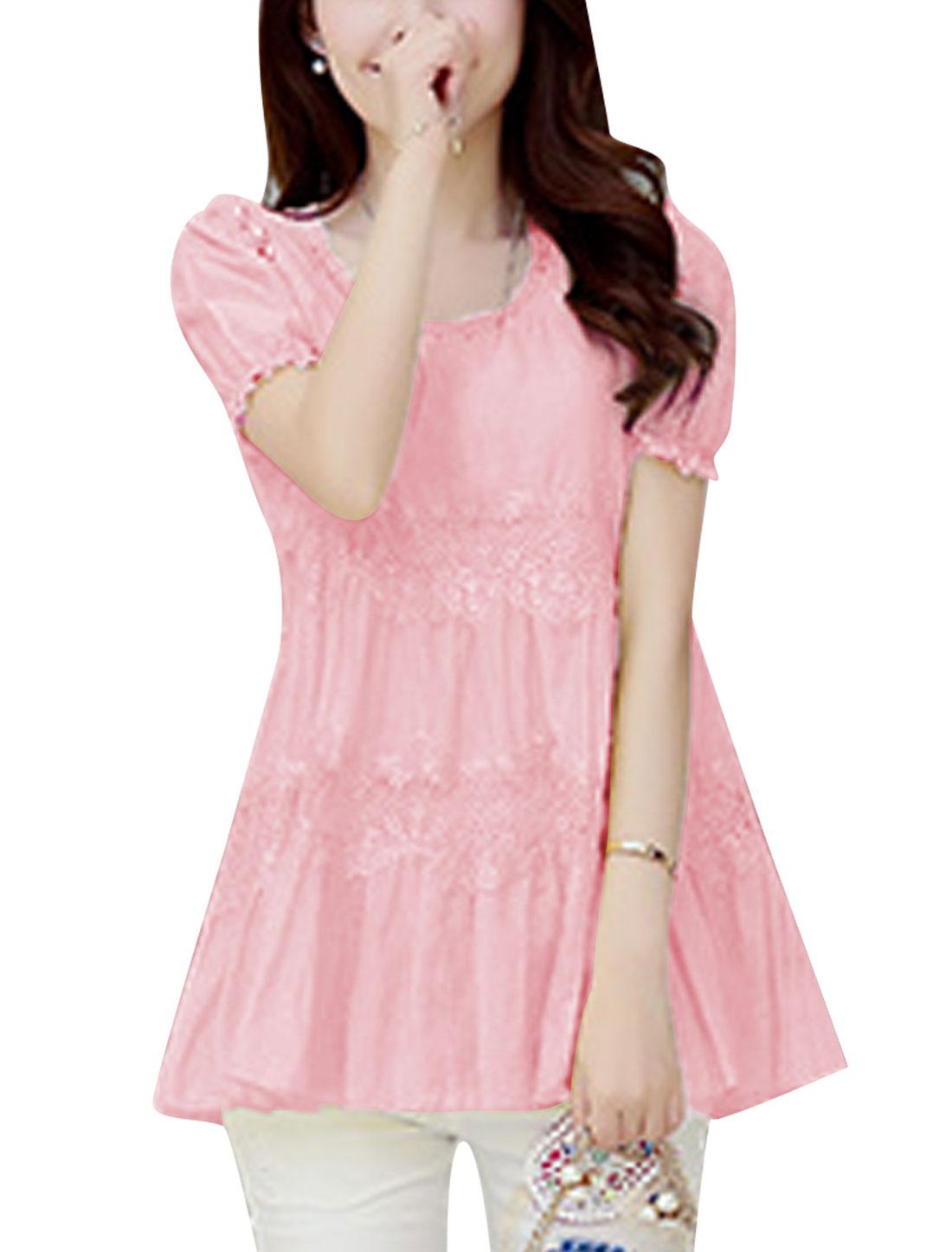Lady Lace Panel Design Lining Tunic Chiffon Blouse Light Pink M