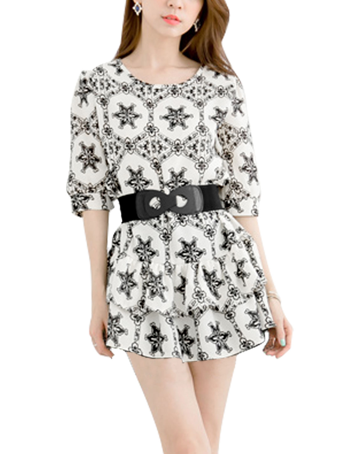 Lady Self Belt Elbow Sleeve Floral Print Tiered Hem Dress Black White XS