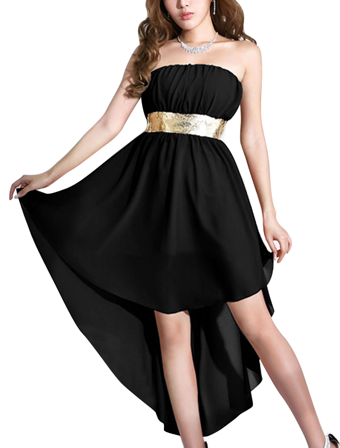 Lady Panel Design Strapless Low High Hem Blouson Dress Black L