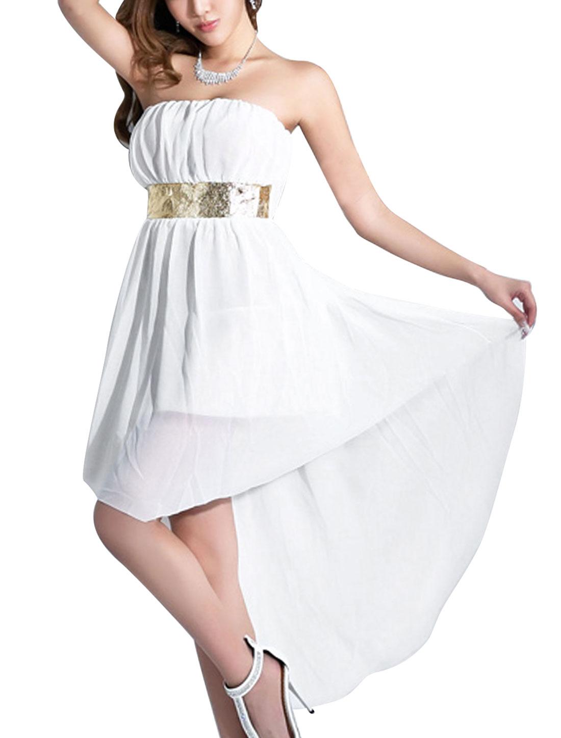 Lady Panel Design Low High Hem Lining Blouson Dress White L
