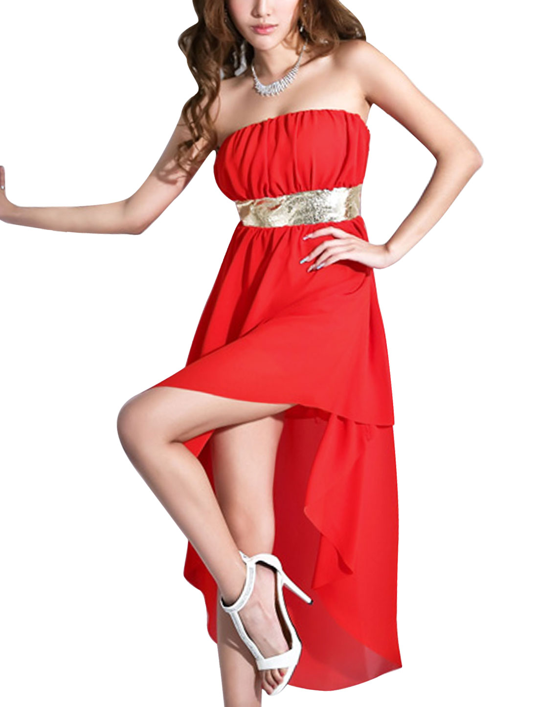 Lady Elastic Waist Low High Hem Above Knee Blouson Dress Red L