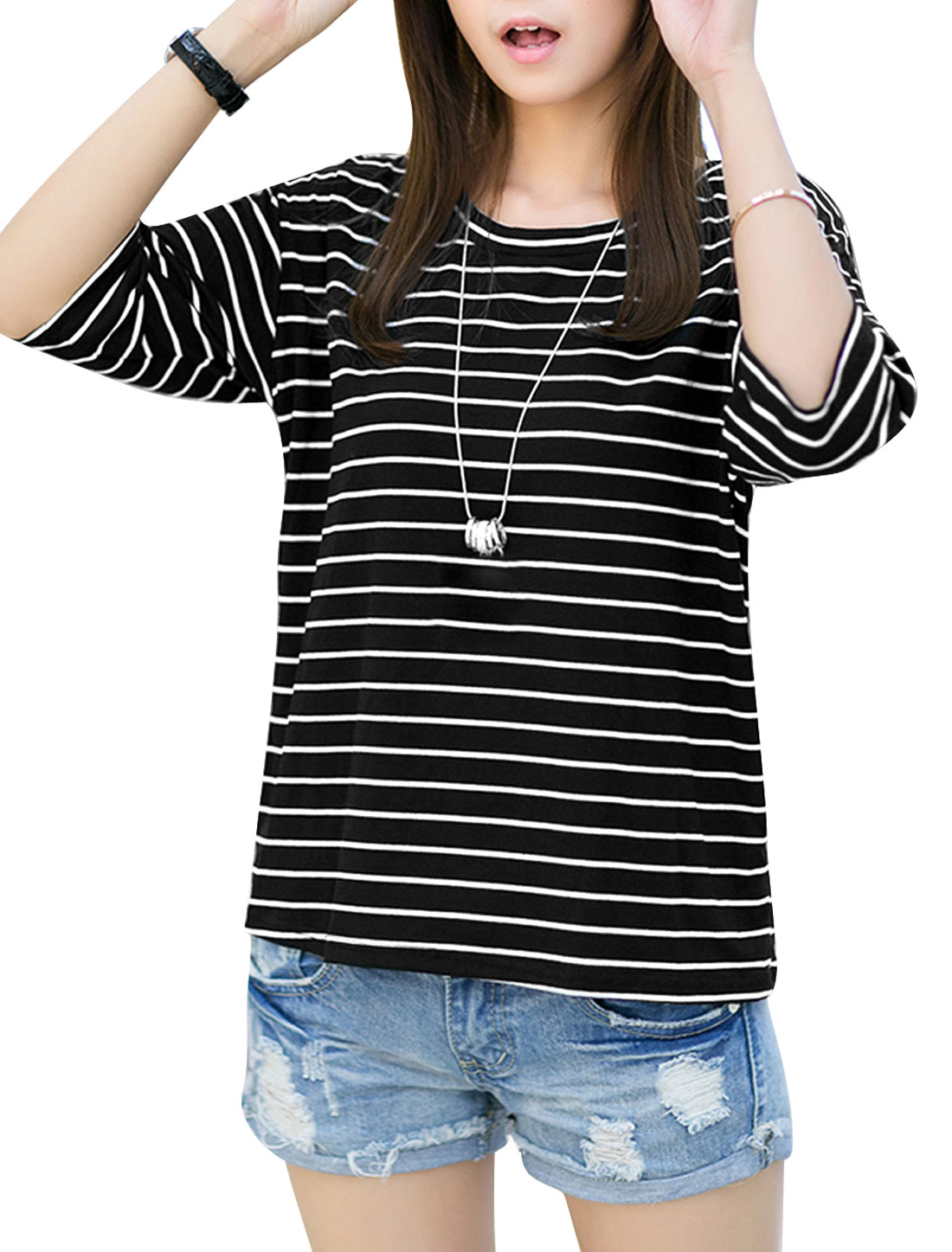 Lady Stripes Round Neck Batwing Elbow Sleeve Slipover T-Shirt Black XS