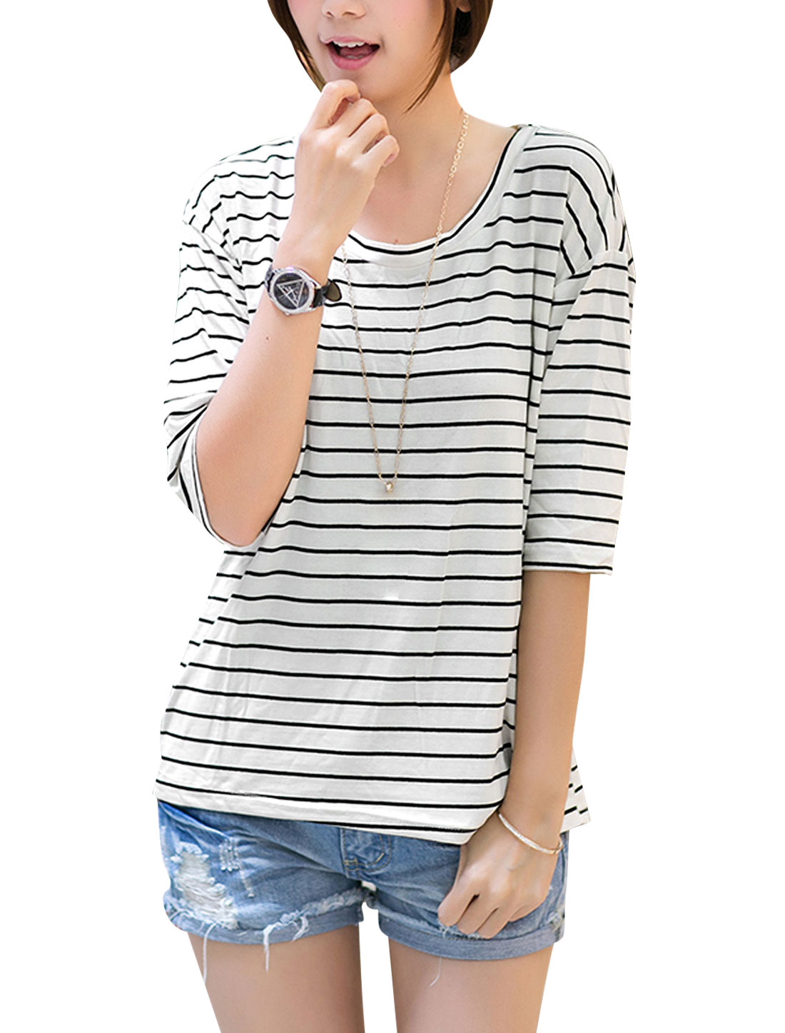 Lady Horizontal Stripes Batwing Elbow Sleeve Slipover T-Shirt White XS