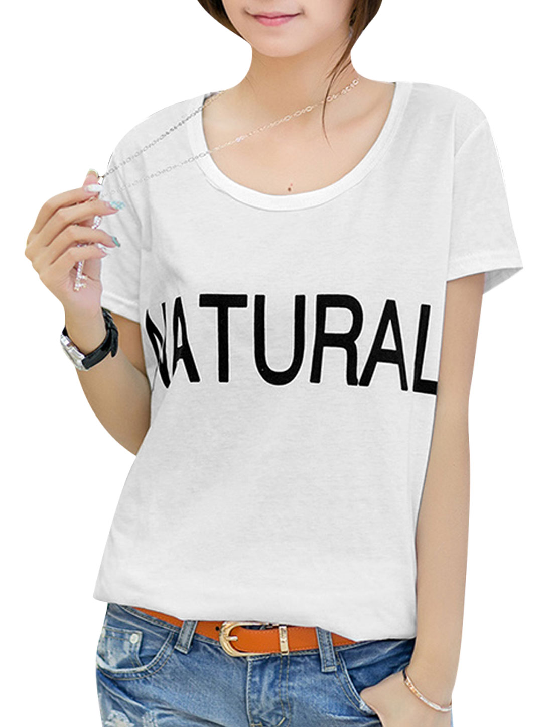 Lady Letters Prints Round Neck Casual Basic T-Shirt White S