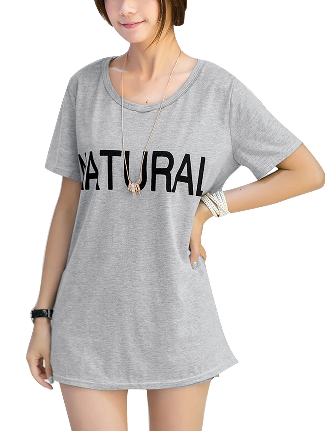 Lady Casual Stylish Letters Prints Round Neck Basic T-Shirt Gray S