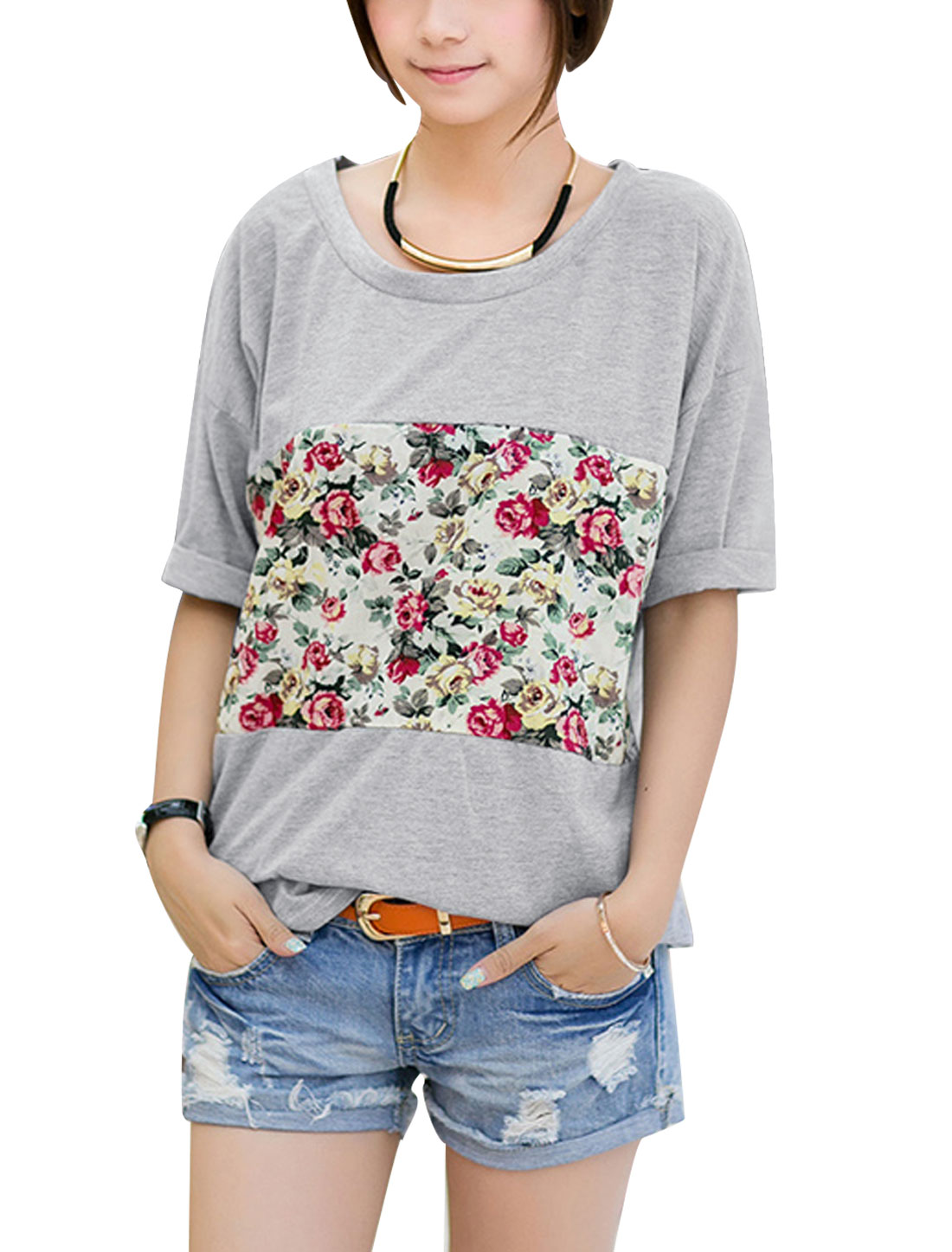 Lady Flower Pattern Panel Batwing Sleeve Tunic T-Shirt Gray S