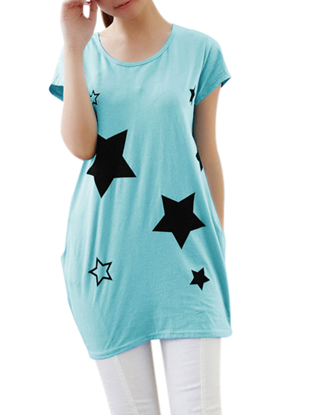 Lady Round Neck Short Sleeve Stars Prints Tunic Top Sky Blue XS