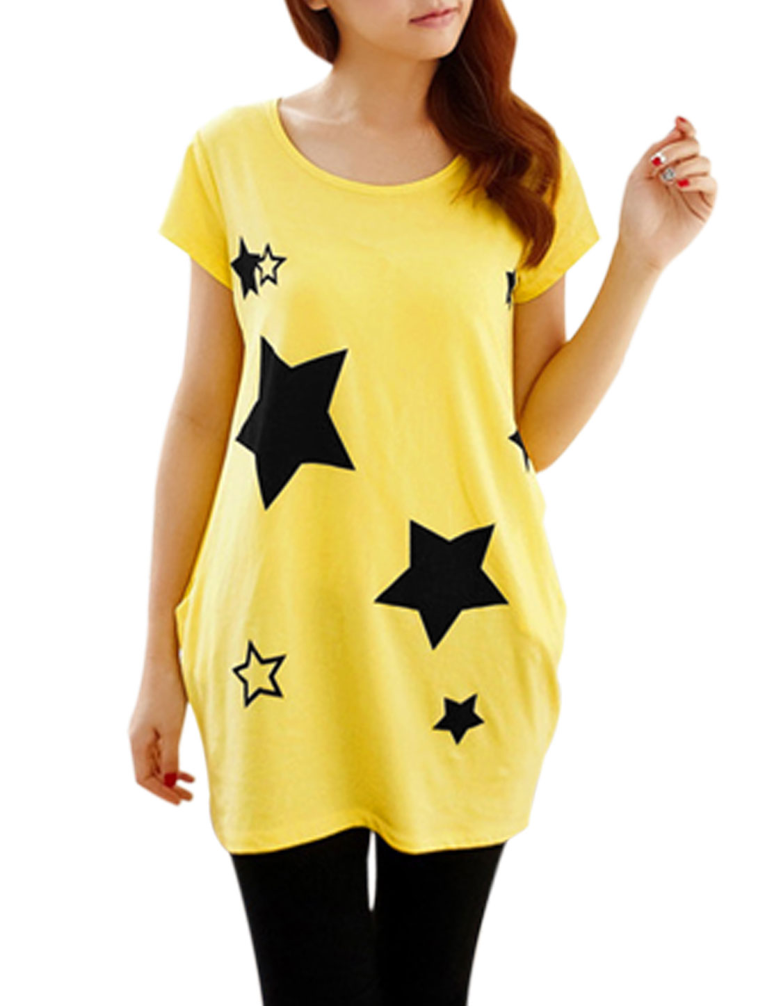 Lady Summer Short Sleeve Stars Prints Tunic Top Yellow XS