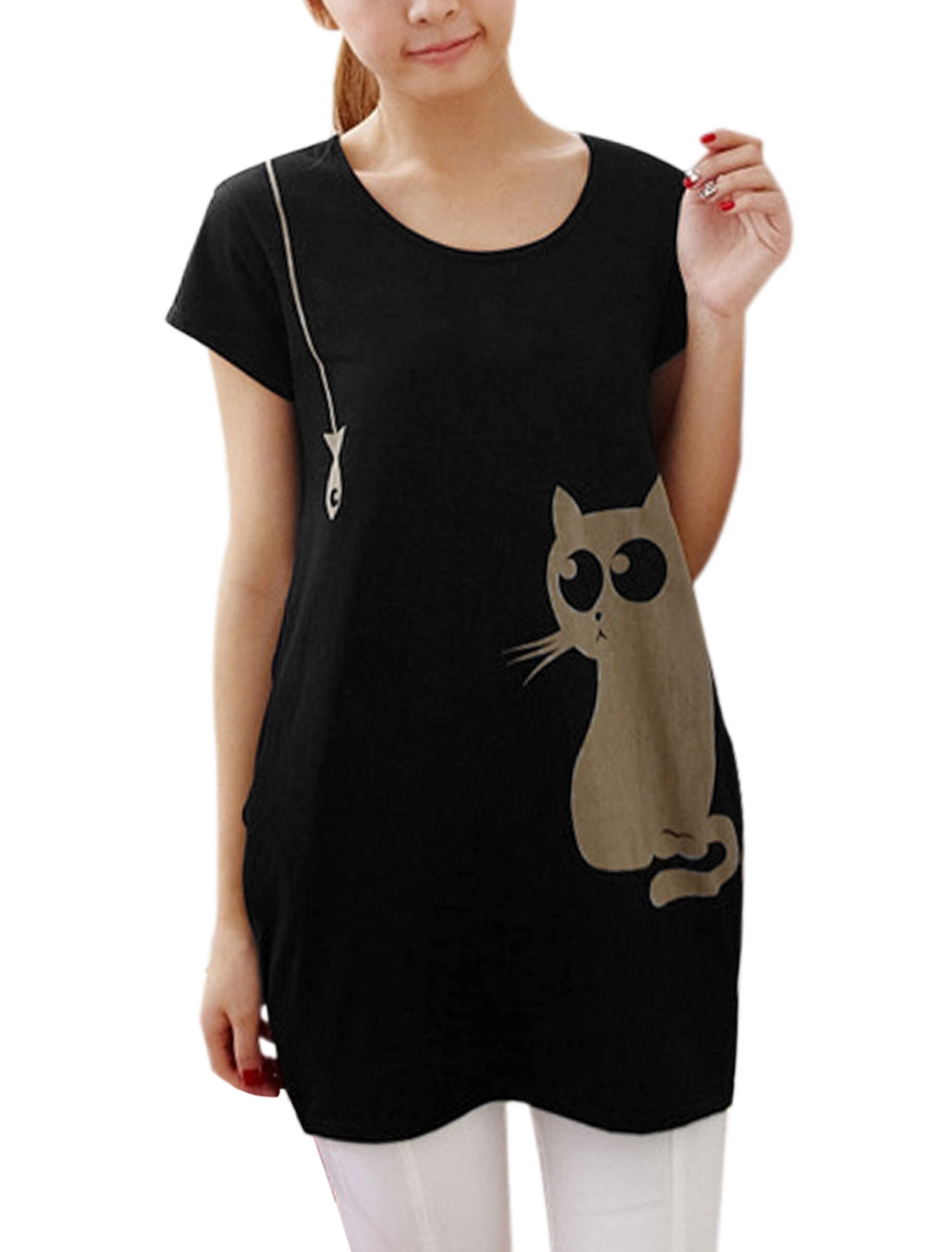 Lady Round Neck Cat Prints Loose Tunic Top Leisure Black XS