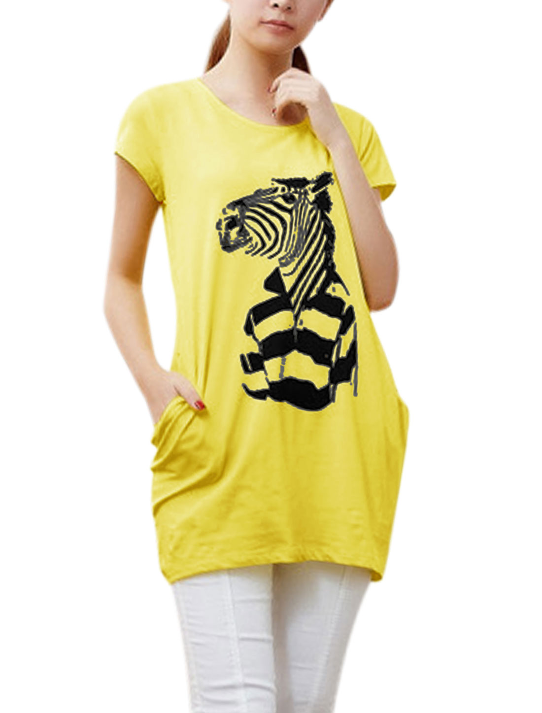 Lady Round Neck Short Sleeve Zebra Prints Tunic Top Yellow XS