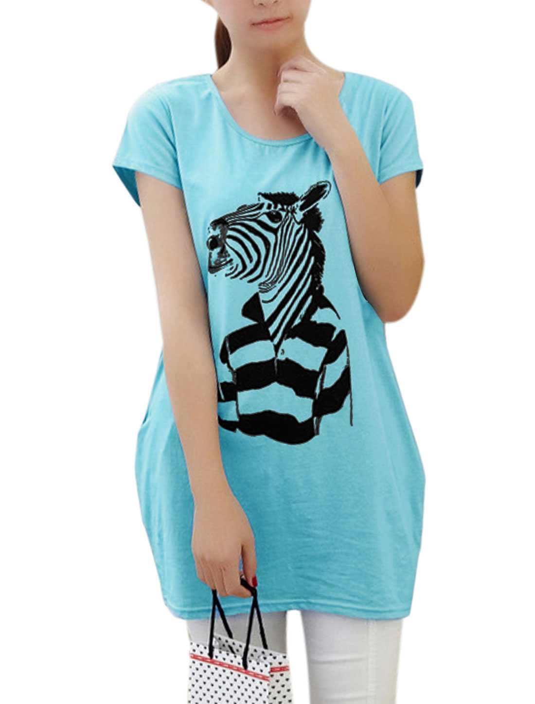 Lady Casual Short Sleeve Zebra Prints Tunic Top Yellow XS