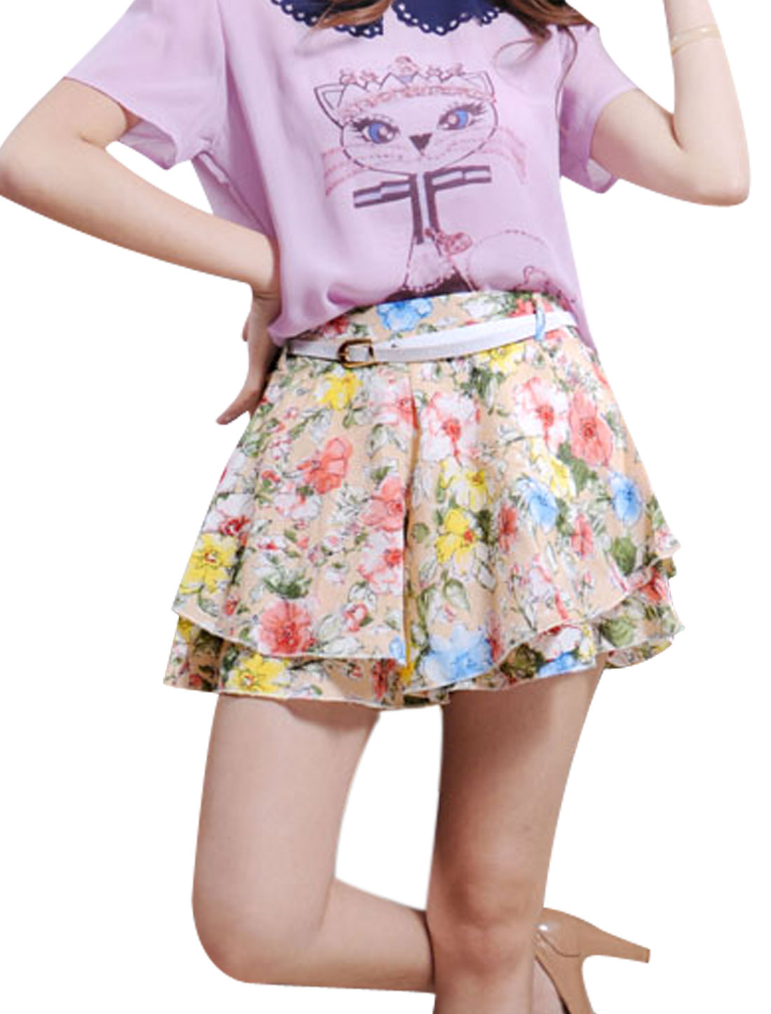 Lady Belt Loop Floral Prints Tiered Design Shorts w Belt Pink XS