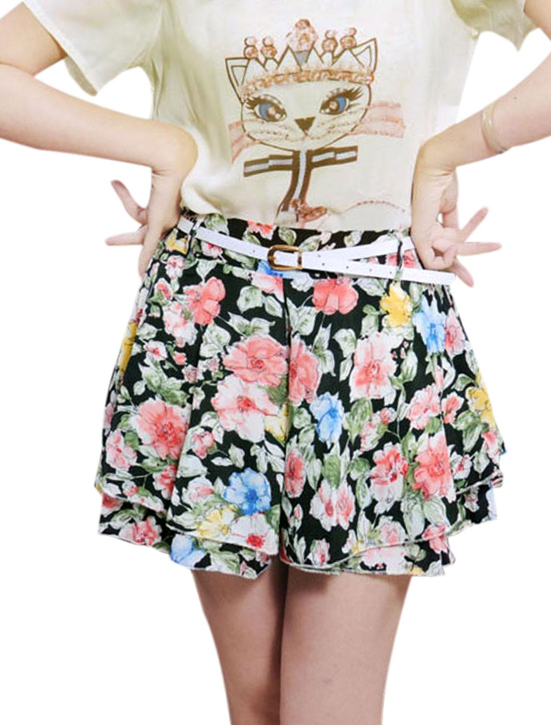 Lady Floral Prints Tiered Design Shorts w Belt Black XS