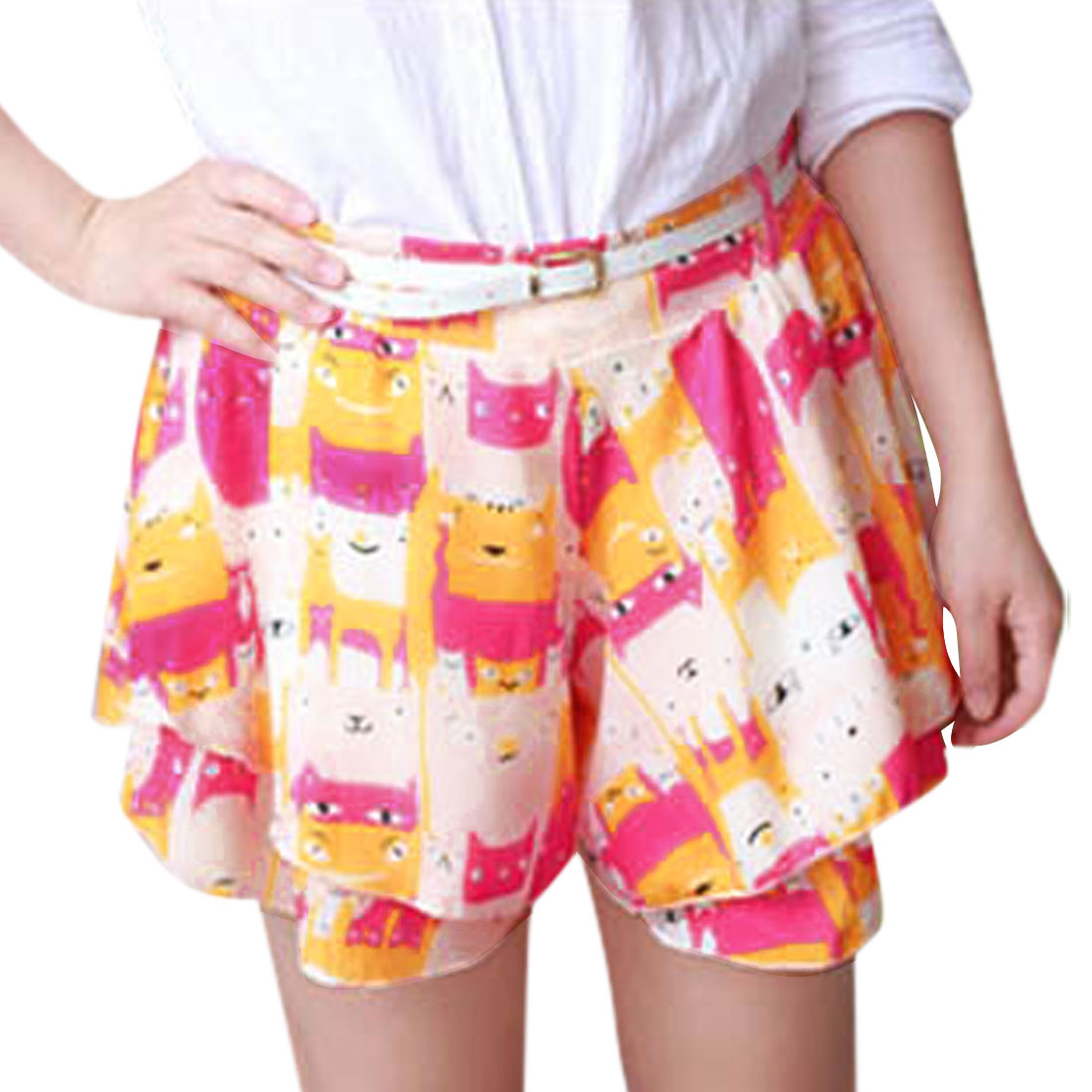 Lady Mid Rise Cartoon Prints Tiered Design Shorts w Belt Multicolor XS