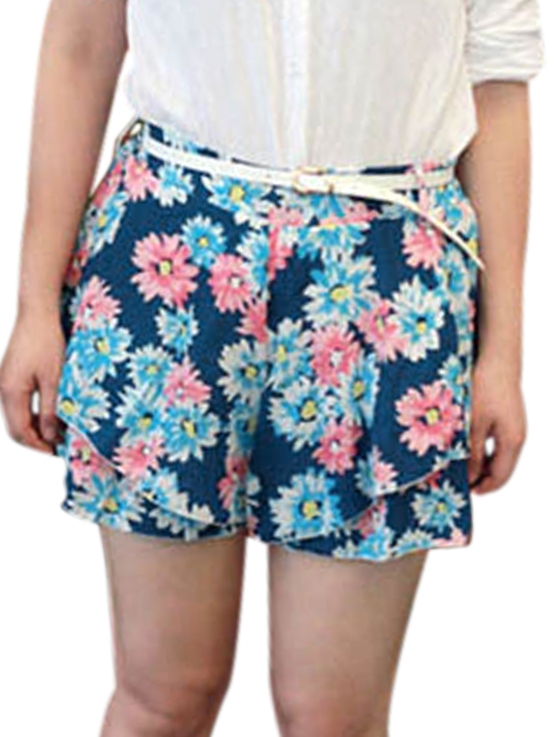 Lady Mid Rise Floral Prints Tiered Design Shorts w Belt Multicolor XS