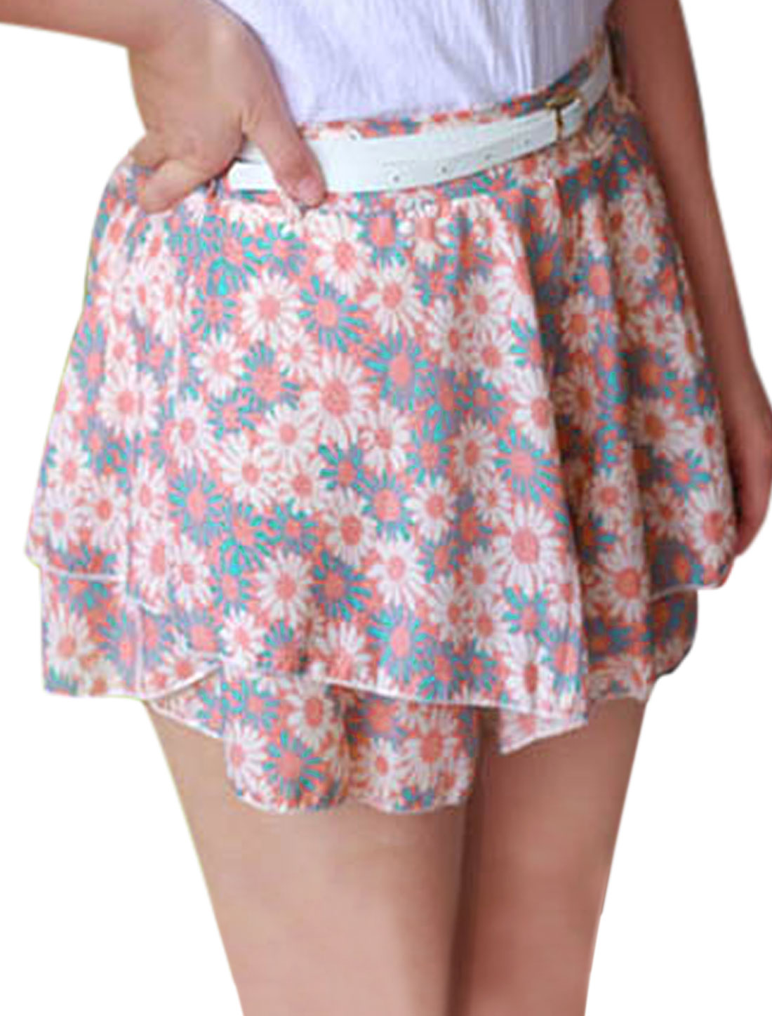 Lady Floral Prints Tiered Design Casual Shorts w Belt Multicolor XS