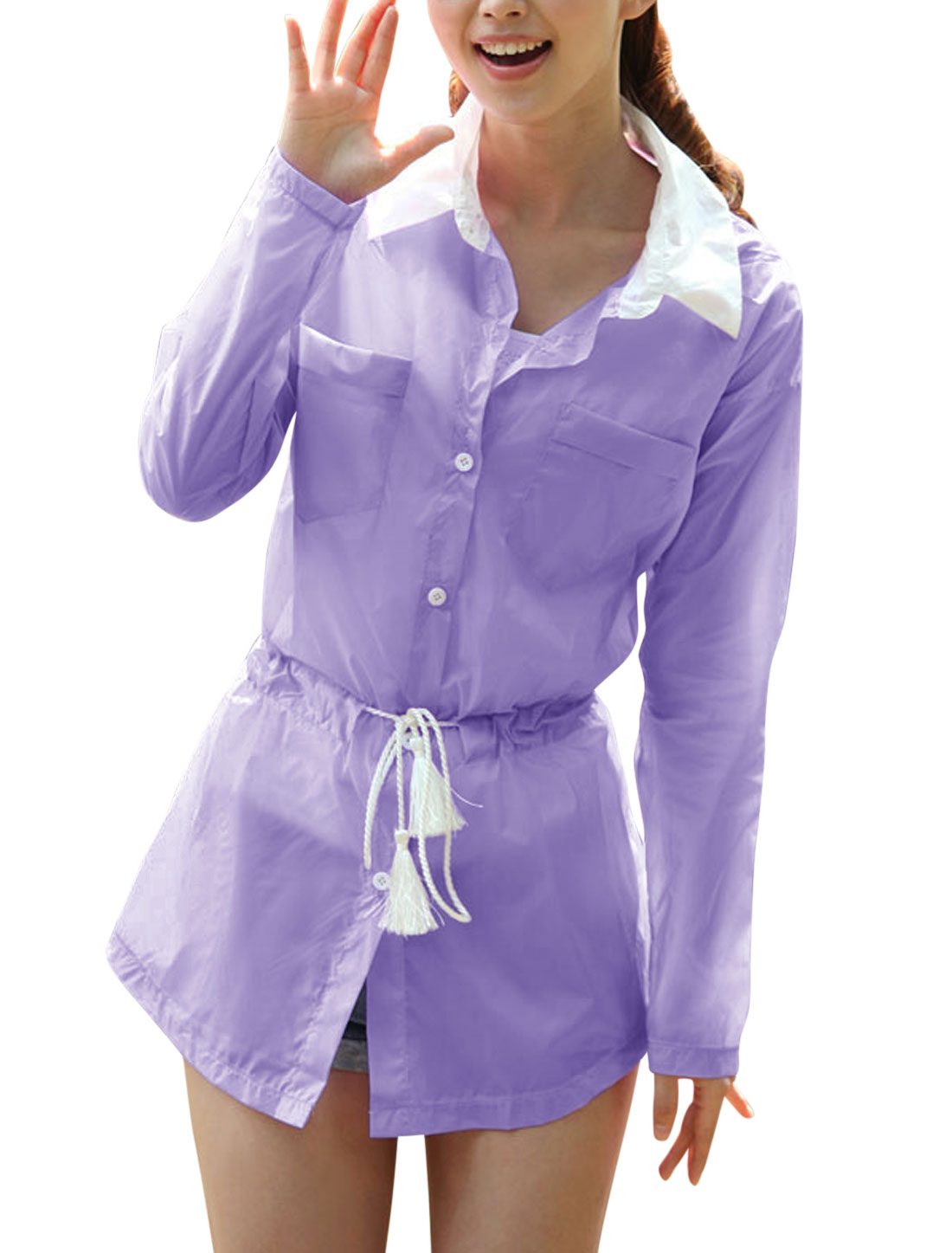 Lady Point Collar Single Breasted Long Thin Jacket Lavender XS